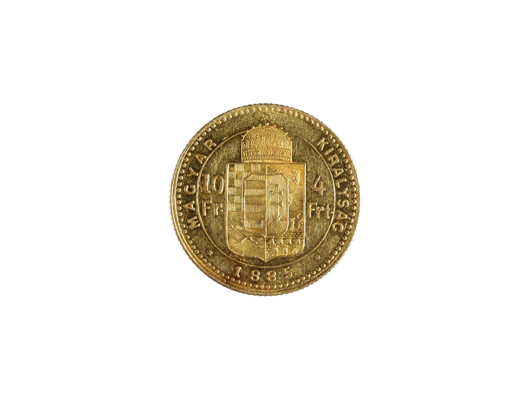 František Josef I. 1848-1916 - 4 Zlatník 1885 K.B., N124, nádherný stav