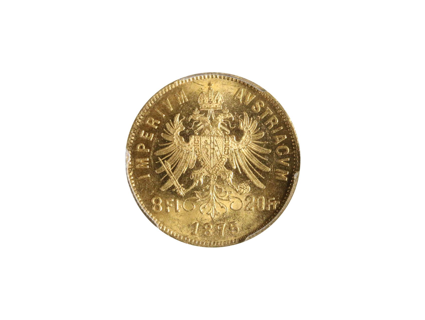 František Josef I. 1848-1916 - 8 Zlatník 1875, VN126, PCGS MS62