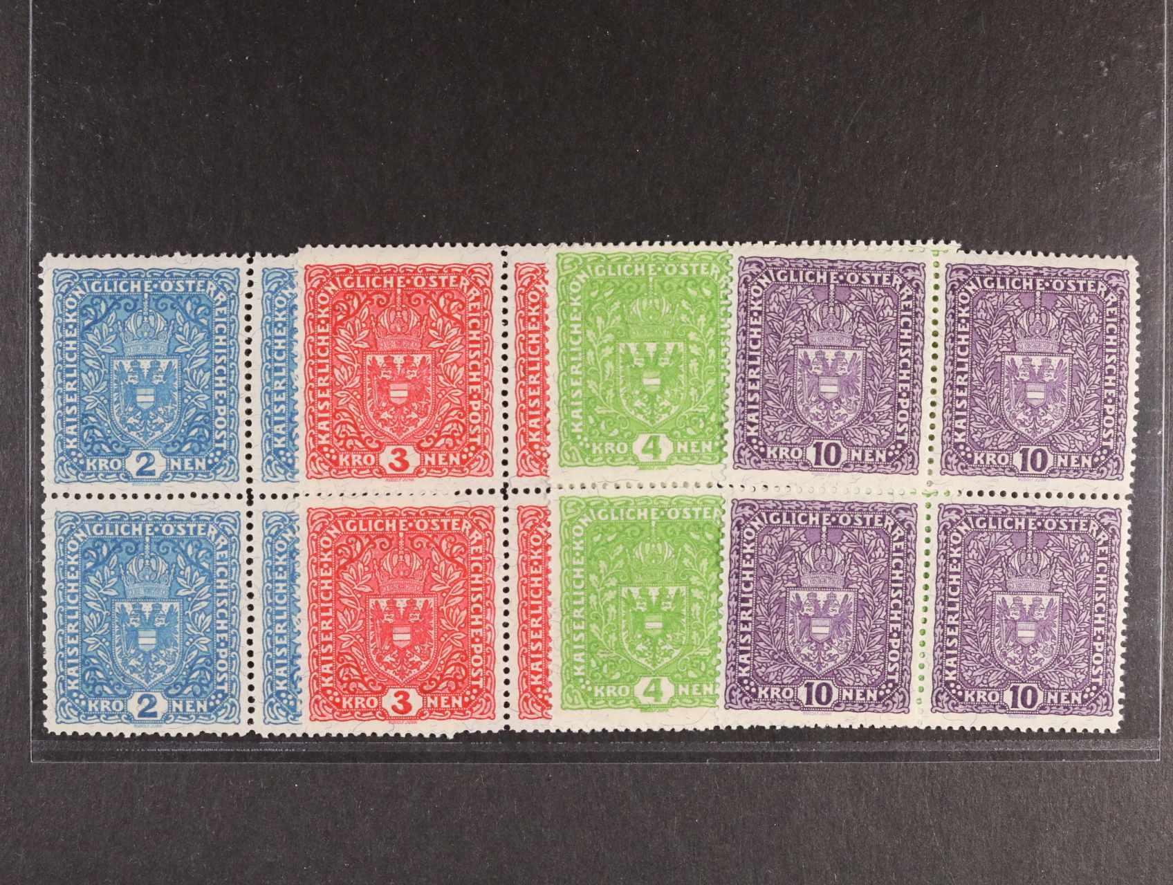 zn. ANK č. 208-211, Znak 2K-10K na žilkovaném papíru ve 4-blocích, 4K ve velmi světlém odstínu !,  kat. min. 325€