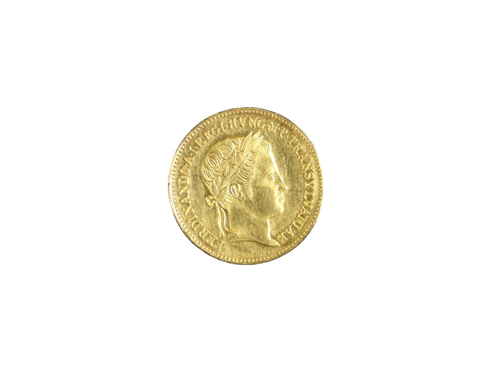 Ferdinand V. 1835-1848 - Žeton na Holdování v Sedmihradsku 1837 Au, průměr 20,5 mm, 5,62 g, N XXI., nepatrně přeleštěné