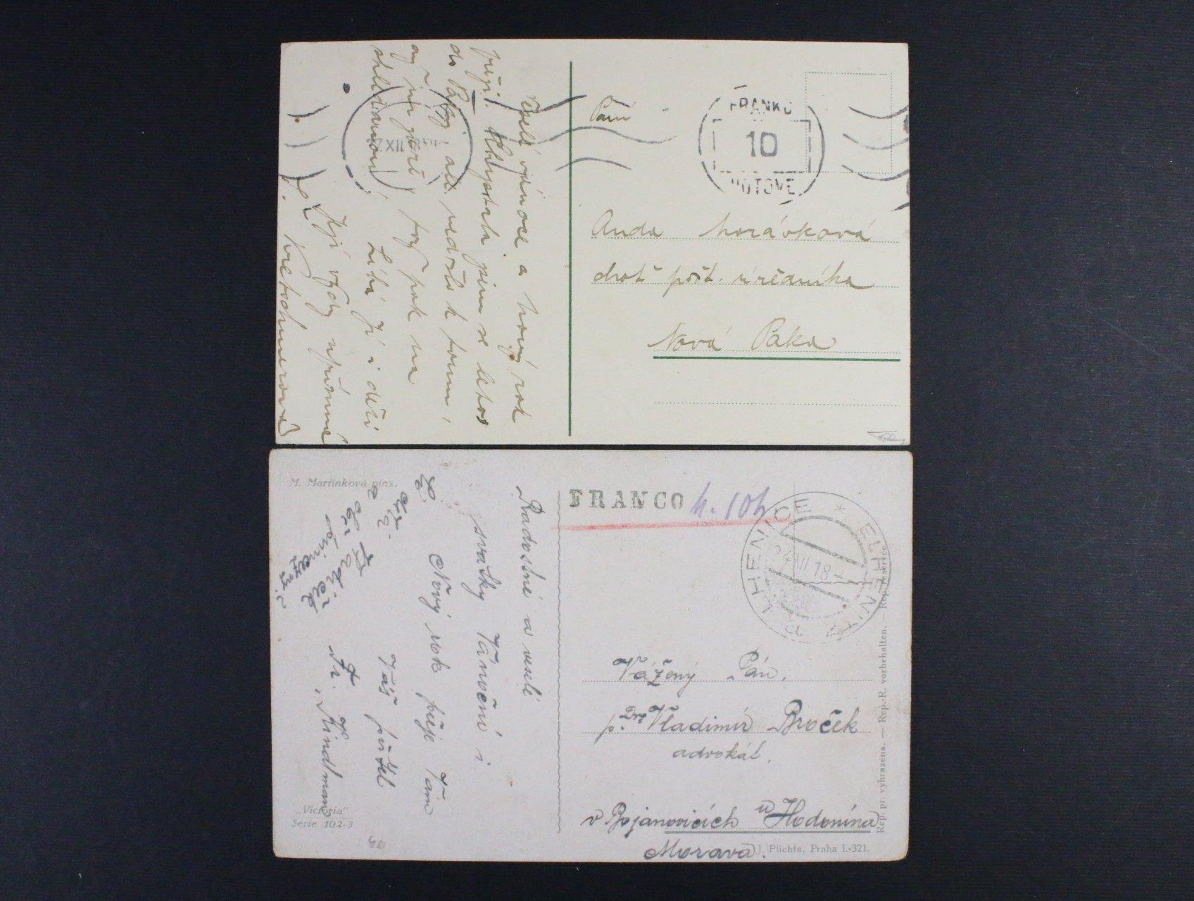 pohlednice do Hodonína vyplaceno v hotovosti, pod. raz. ELHENICE 24.12.18 a pohlednice do Nové Paky se stroj. raz. PRAHA 27.12.18 FRANKO HOTOVĚ 10H, zajímavé
