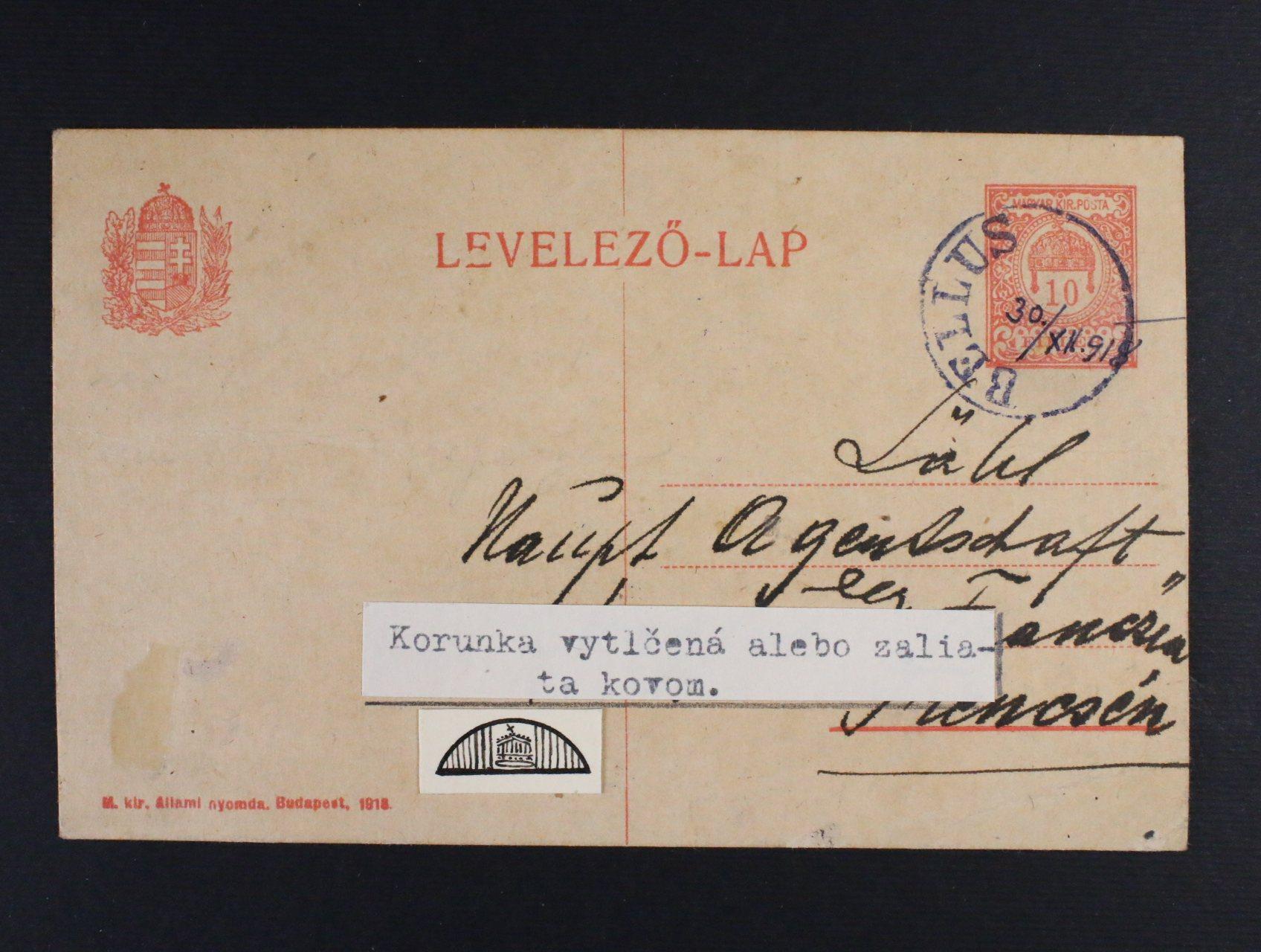 uherský KL 10fil. cís.koruna s pod. jednokruh. raz. BELLUS (Beluša) s ručně dopsanou datací 30.12.1918