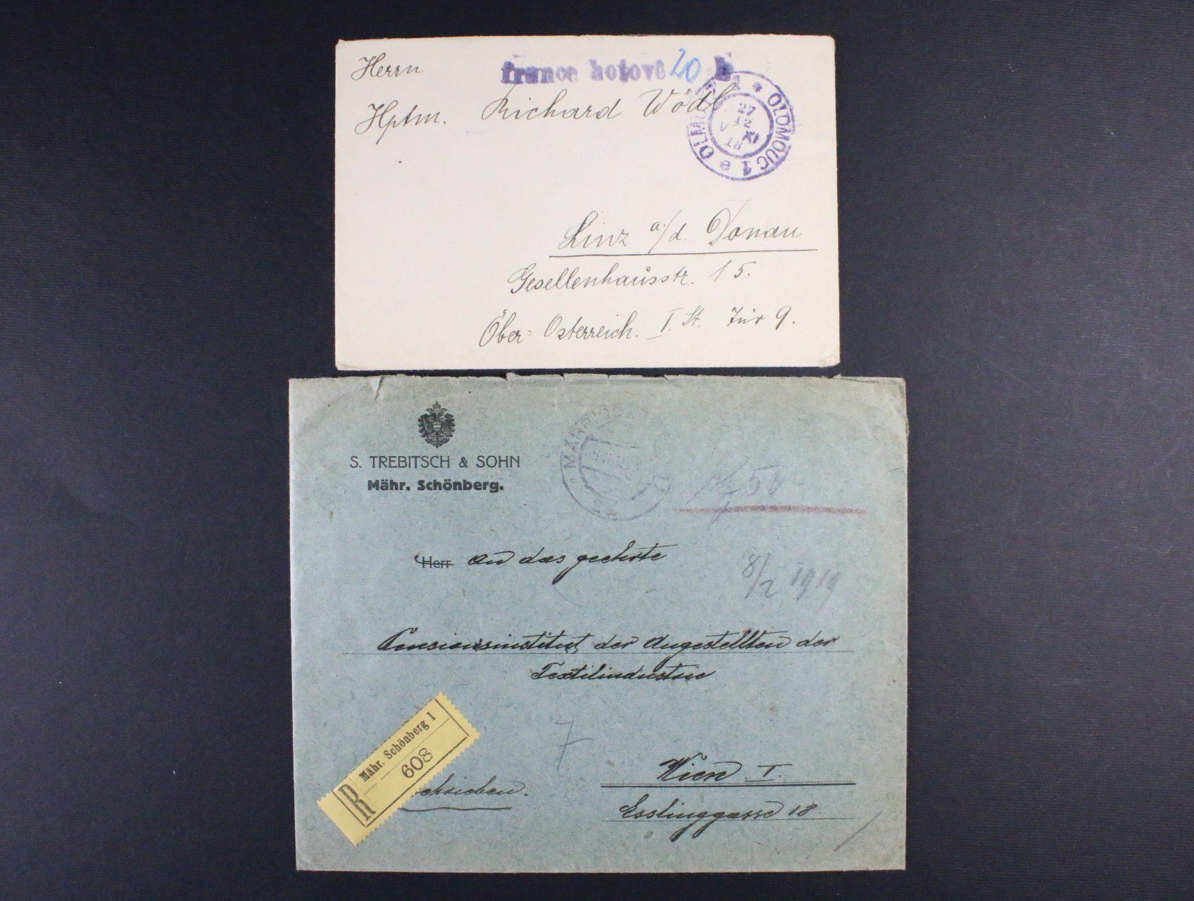 firemní R-dopis do Vídně vyplacený hotově, pod. raz. MÄHR. SCHÖNBERG 8.2.19 a dopis malého formátu do Rakouska, poštovné vybráno v hotovosti, pod. raz. OLOMOUC 1 27.12.18