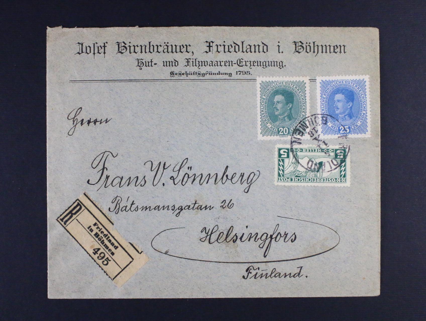 firemní R-dopis do Finska frank. zn. Mi. č. 220 A + 222 + 223, pod. raz. FRIEDLAND BÖHMEN 5.11.18, přích. raz. HELSINGFORS 14.11.18, zajímavá destinace, dobrá kvalita