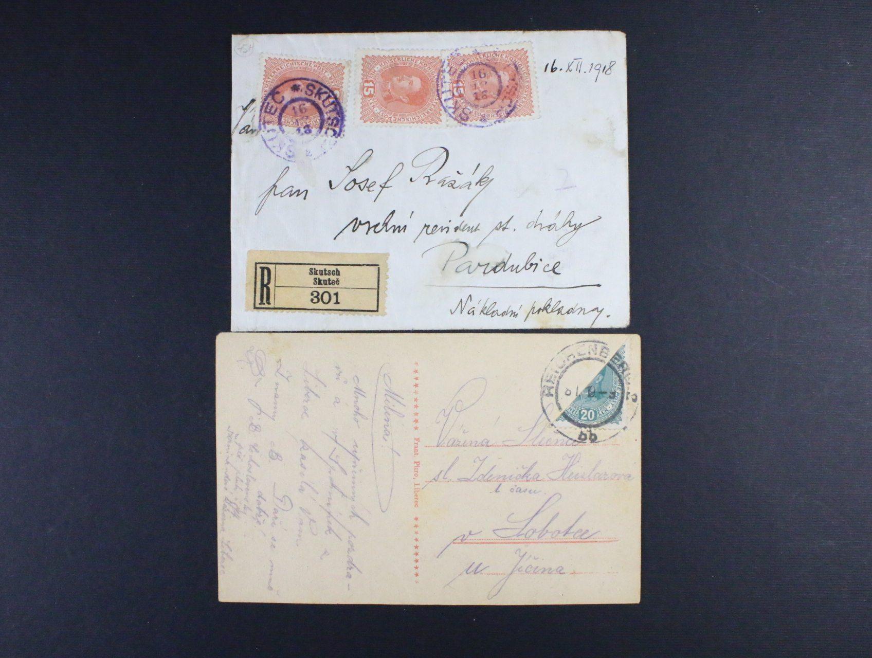 R-dopis do Pardubic frank. zn. Mi. č. 221 (3x), pod. raz. SKUTEČ 16.12.18 + pohlednice frank. příčně půlenou zn. Mi. č. 222, pod. raz. REICHENBERG 8.1.19