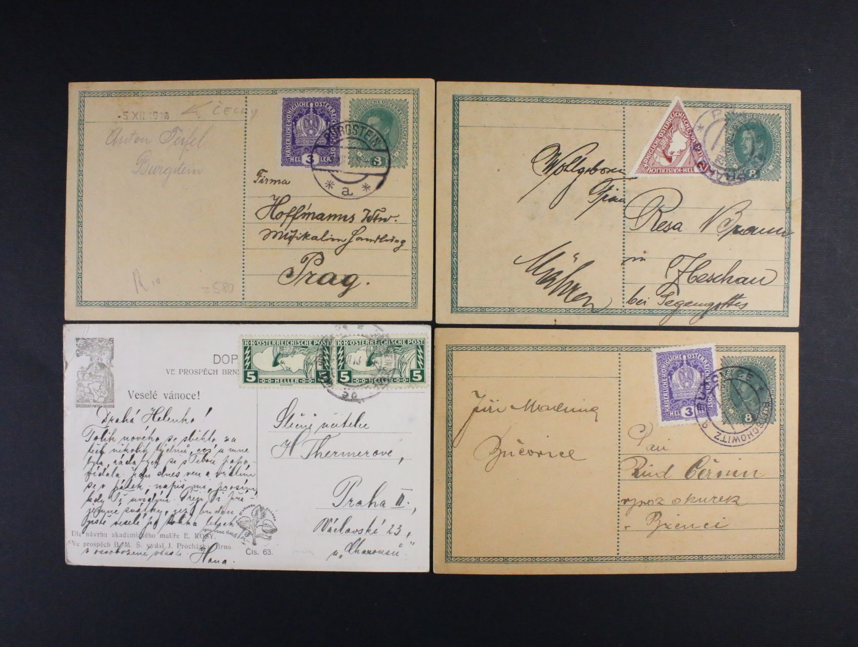 sestava 3 ks rak. KL 8h Karel dofrank. zn. Mi. č. 185 (2x), 217 (1x) + celistvost frank. zn. Mi. č. 220 A s různými raz. z r. 1918