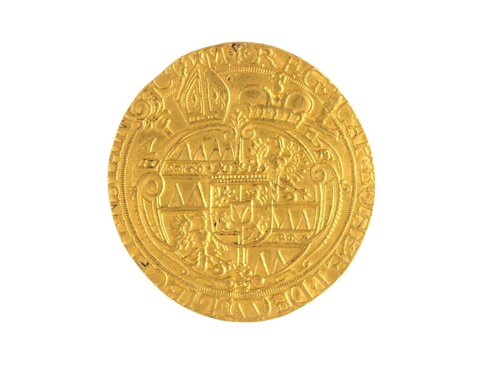 Olomouc Biskupství, Karel II. Lichtenstein 1664 - 1695, 4 Dukát 1678, velmi vzácný, ex. aukce Hess Divo, stopa po závěsu, dr. uhoz v ploše