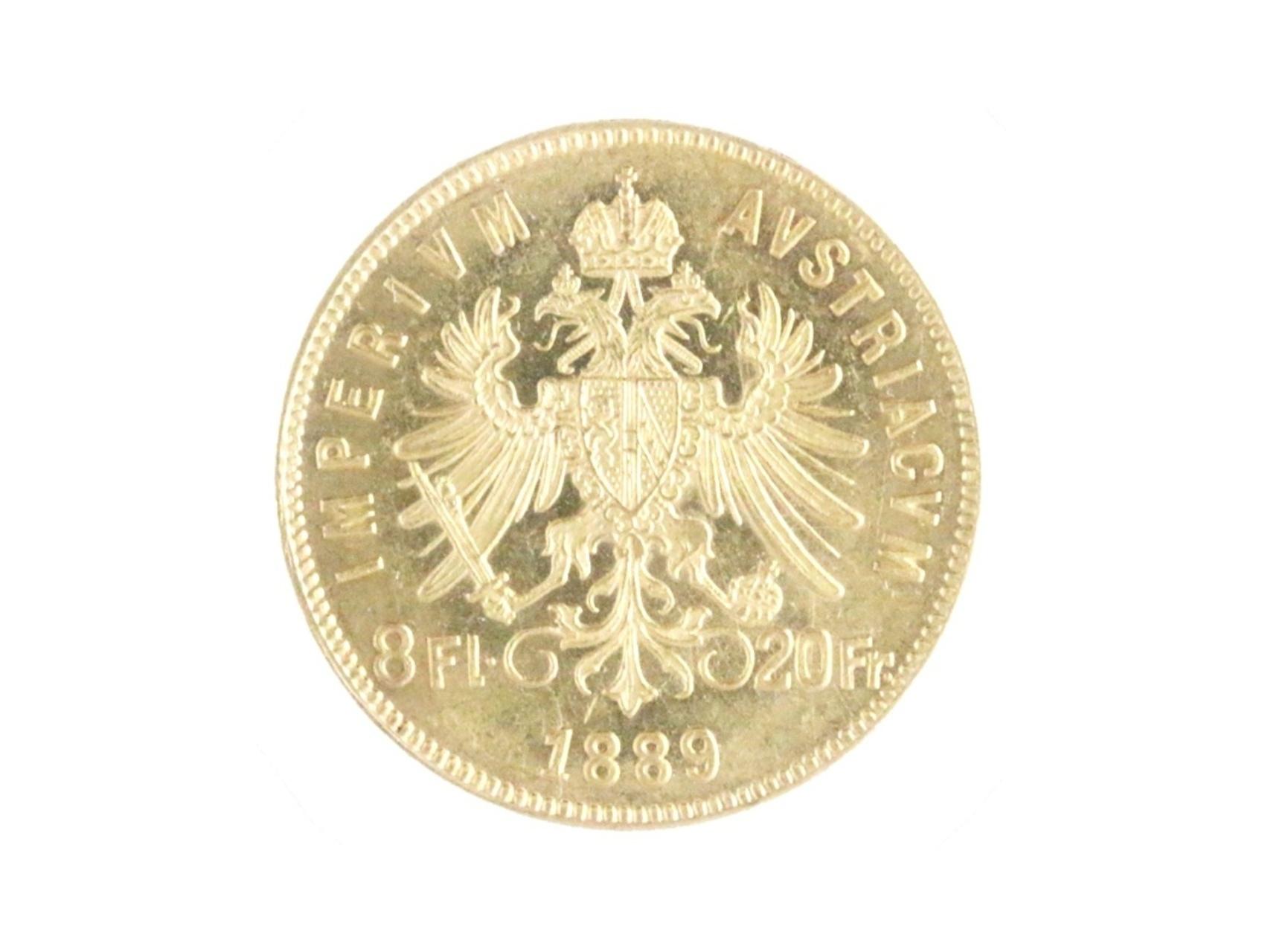 František Josef I. 1848-1916 - Osmizlatník 20 Franků 1889, N126, dr. hr.