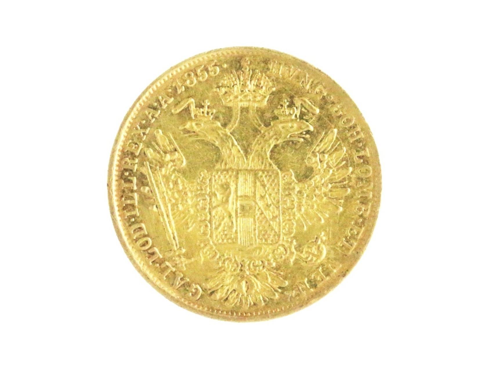 František Josef I. 1848-1916 - Dukát 1855 V, N106, škrábance na A, nepatrně zvlněn, vzácný