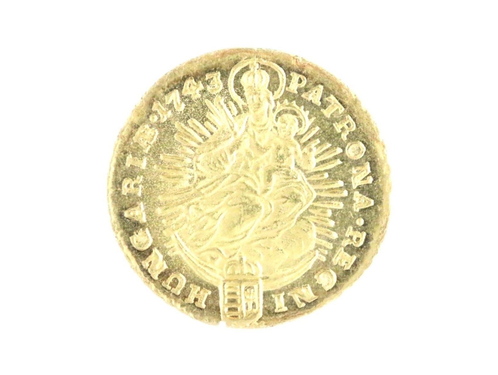 Marie Terezie 1740-1780 - Dukát 1743 KB pro Uhry s titulem královským, N204, úhoz na hr., ražební lesk