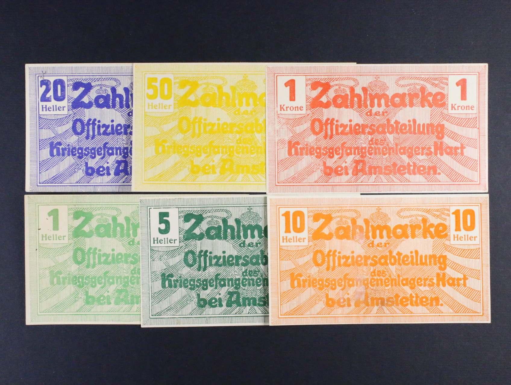 Hart bei Amstetten (Rakousko), 1, 5, 10, 20, 50 h, 1 K b.d., Ri. 22 III.a, c, d, e, f, g, 6 ks