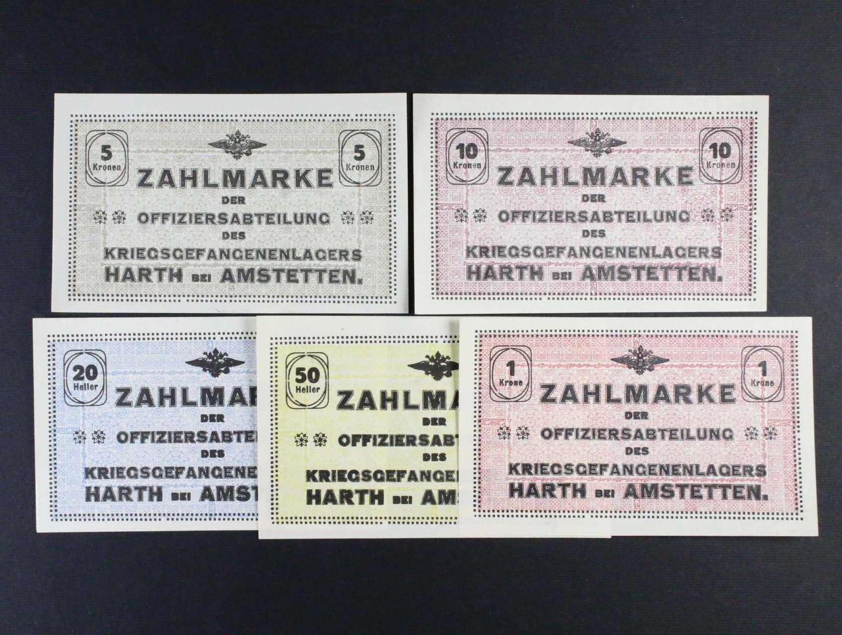 Hart bei Amstetten (Rakousko), 20, 50 h, 1, 5, 10 K b.d., Ri. 22 I.a, b, c, d, e, 5 ks