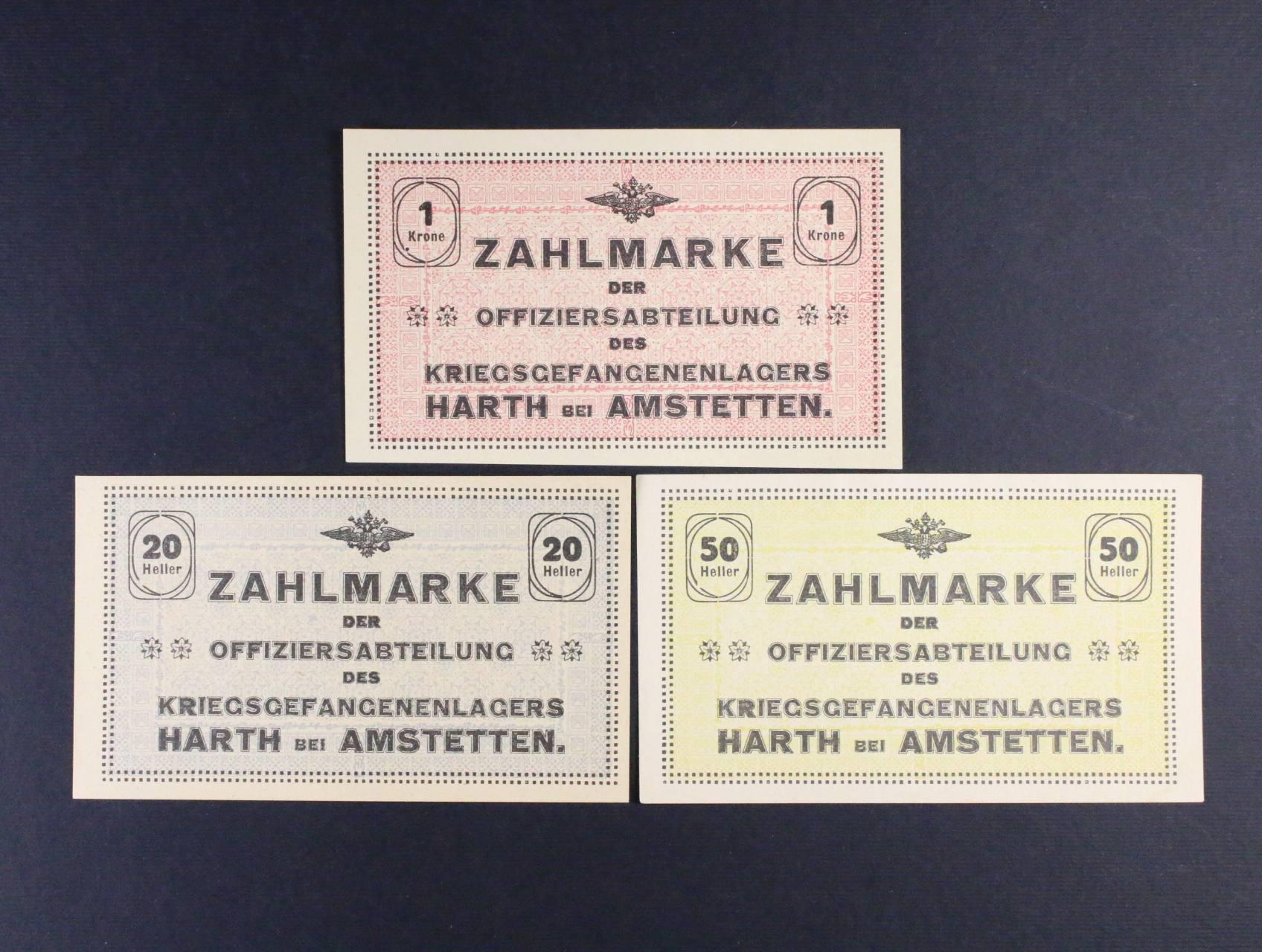 Hart bei Amstetten (Rakousko), 20, 50 h, 1  K b.d., Ri. 22.I.a, b, c