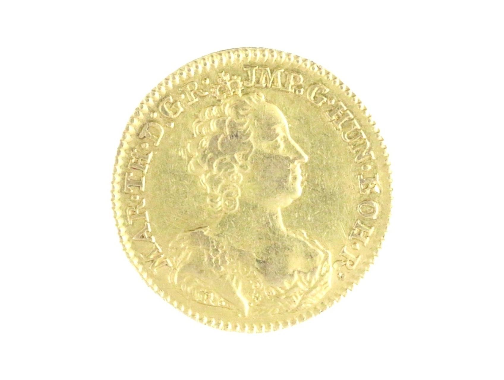 Marie Terezie 1740-1780 -  Souverain d´or 1756 Antverpy, ražba pro rakouské Nizozemí s tit. císařským, N234