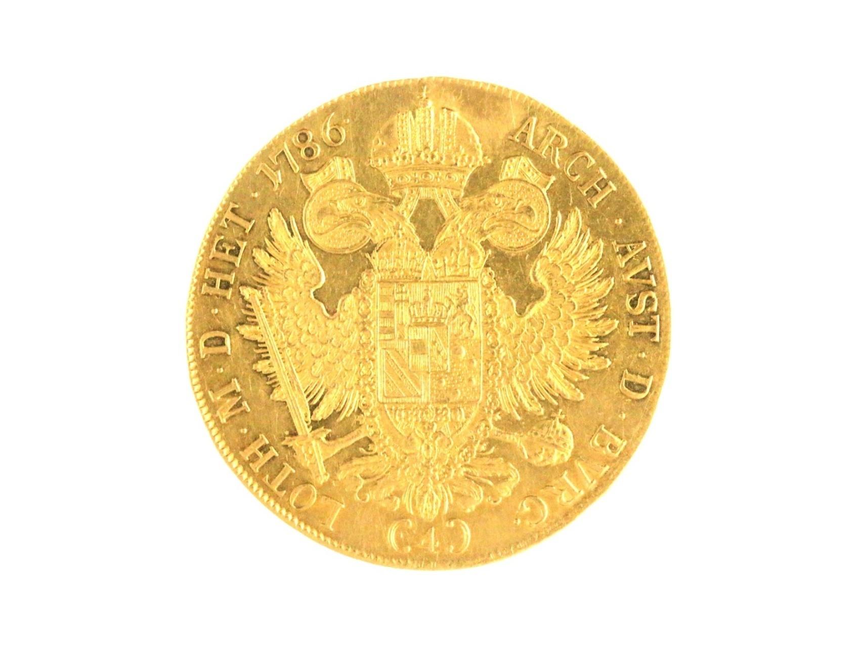 Josef II. 1765-1790 - 4 Dukát 1786 A, stopa po očku, vzácný, na sběratelském trhu se za poslední roky objevilo jen 5 ks