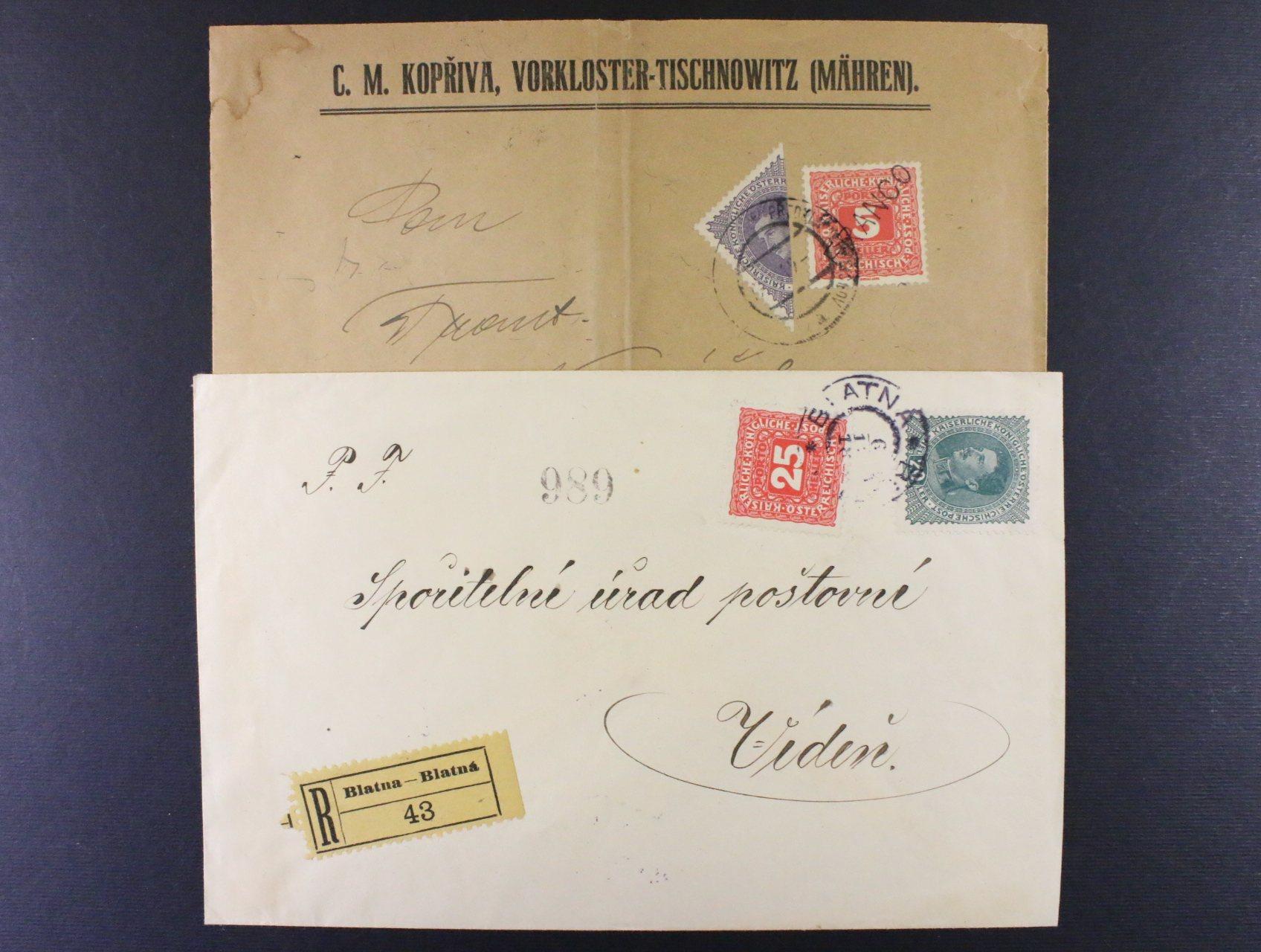 firemní dopis do Brna frank. půlenou zn. 30h Karel + 5h doplatní 1916 FRANCO, pod. raz. PŘEDKLÁŠTEŘÍ U TIŠNOVA 17.1.19, dopis mimo zn. svisle přeložený a R-dopis do Vídně frank. zn. 25h doplatní 1916 + 20h Karel, pod. raz. BLATNÁ 6.12.18, vzácná frankatura, zajímavé