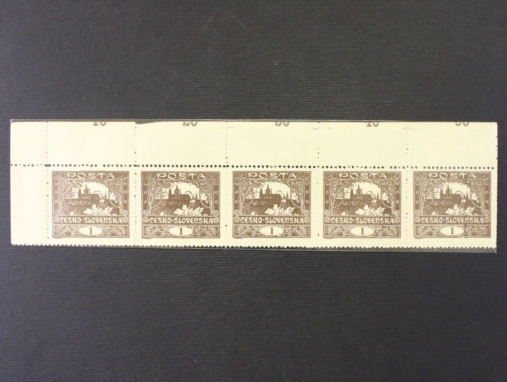 zn. č. 1 C - levá horní roh. 6ti-páska s větším ořezem a částí počitadel z horního archu