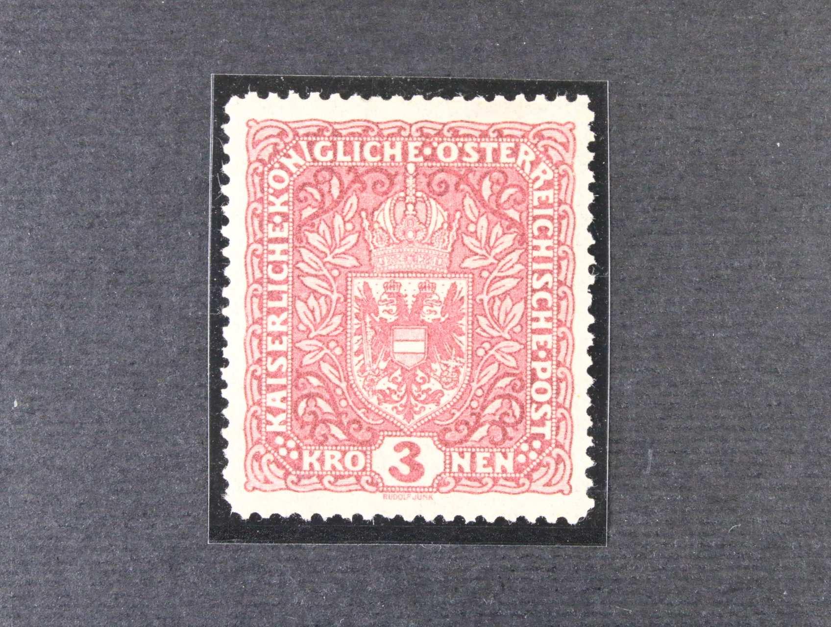 rak. zn. Mi.  č. 201 II 3 K tmavěčervená, kat. cena 4000 Kč