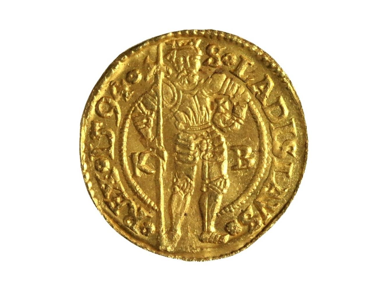 Rudolf II. 1576-1612 - Dukát 1594  KB Kremnice, Hus. 1002, nepatrně zvlněn