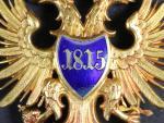 Řád železné koruny 3. třídy, vydání do roku 1865/75, na pendiliích značka výrobce ROTHE WIEN, zlato, neznačené, opravovaný smalt ve středovém štítku, dobová etue