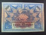 1000 K 1919 poukázka království českého, nevydaná, pestrobarevná, jednostranná
