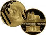 2009, Česká mincovna, zlatá medaile Návštěva Baracka Obamy v ČR, Au 0,999, 31,1g (1 UNZ), průměr 37mm, náklad 500 ks, etue, certifikát
