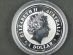 1 Dollars - 1 Oz (31,1050g)  Ag - Kookaburra 2008, kvalita proof, Ag 999/1000, etue