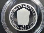 Stříbrná replika 1 Kčs 1961, číslované č. 153, Ag 925, 7,8g ,průměr 23 mm, 200ks (Ag), dřevěná etue, certifikáty