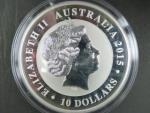 1 Dollars - 1 Oz (31,1050g)  Ag - Kookaburra 2015, kvalita proof, Ag 999/1000, etue