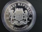 100 Shillings 2014 - 1 UNZ Ag - sloni, kvalita proof, Ag 999/1000, 31,11g etue