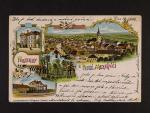 Velké Meziříčí - barevná litografická pohlednice, použitá 1906